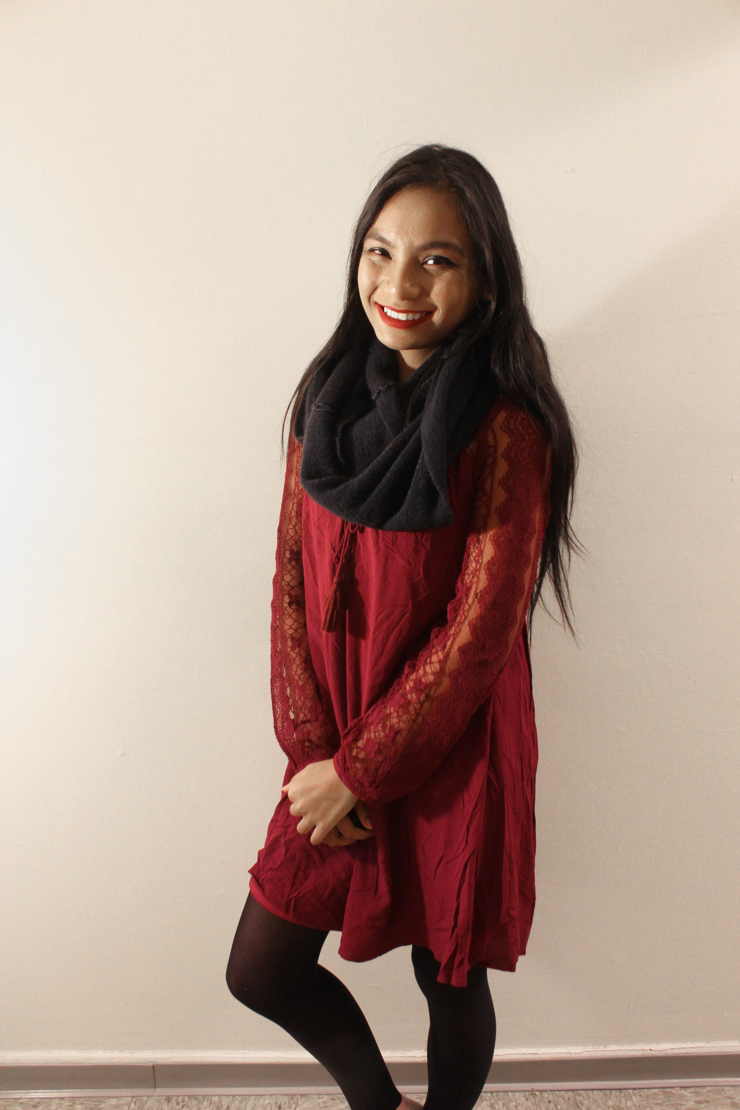 Maroon Dress for the Winter