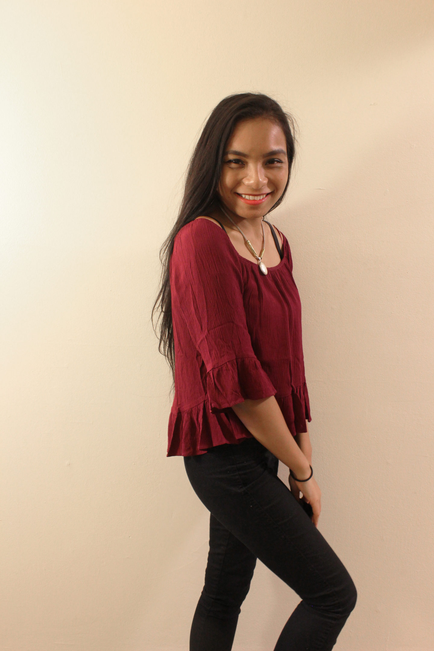 Styling Maroon Off the Shoulder Tops